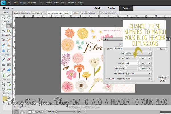 How To Make A Blog Header In Photoshop, What Are The Tools In Photoshop Elements, How To Add A Header To Your Blog, How To Design A Blog Header, How To Design A Blog Banner, How To Add A Header To Wordpress, Bling out your blog,